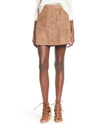 Love By Design - Buttoned Faux-Suede Skirt - Lyst