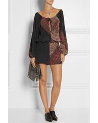 Finds  Stone Cold Fox Phoenix Printed Washed-silk Playsuit - Lyst