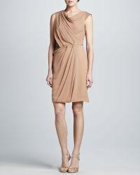 J. Mendel Leather-insert Georgette Dress - Lyst