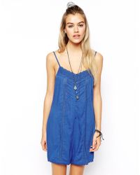 Asos Strappy Playsuit with Lace Trim - Lyst