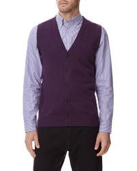Austin Reed - Merino Purple Marl Button Tank - Lyst