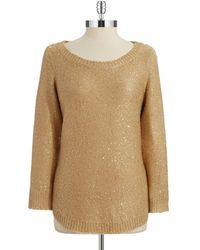 Anne Klein Sequined Three Quarter Pullover - Lyst