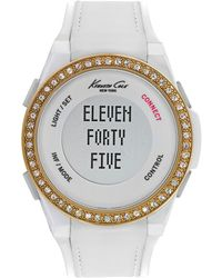 Kenneth Cole - Ladies Connect Glitz Rose Goldtone And White Silicone Strap Watch - Lyst