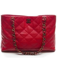 Chanel Red Caviar Xl Tote Bag - Lyst