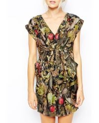 Traffic People Blooms Of The Forest Silk Wrap Dress - Lyst