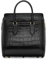 Alexander McQueen Black Croc_Embossed Medium Heroine Bag black - Lyst