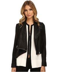 Helmut Lang Kiln Leather Drape Front Leather Jacket - Lyst