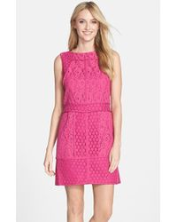 Adrianna Papell Women'S Mixed Lace Shift Dress - Lyst