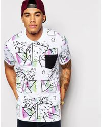ASOS - Polo Shirt With All Over Print And Contrast Pockets Co-ord - Lyst