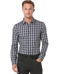 Perry Ellis Big And Tall Long-Sleeve Windowpane Plaid Shirt - Lyst