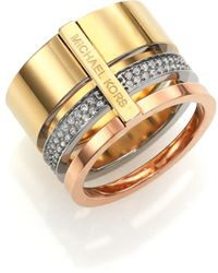 Michael Kors Brilliance Statement Tricolor PavÉ Stacked Ring gold - Lyst