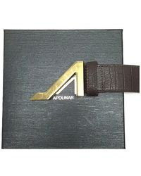 Apolinar - Brown Embossed Crocodile Leather Belt With Gold Buckle - Lyst