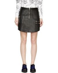 McQ by Alexander McQueen Zippered Leather Mini Skirt - Lyst