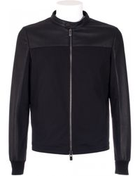DROMe Black Leather And Canvas Jacket - Lyst