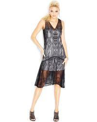 M.a.d.e Sleeveless Eyelet Lace Overlay Midi Tank Dress - Lyst