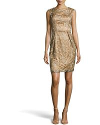 Sue Wong Capsleeve Embroideredlace Dress - Lyst