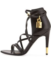 Tom Ford Leather Ankle-Wrap Padlock Sandal gold - Lyst