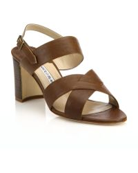 Manolo Blahnik | Gorham Leather Crisscross Sandals | Lyst