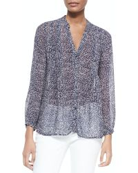 Joie Martine C Printed Silk Blouse - Lyst