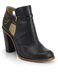 MM6 by Maison Martin Margiela Leather Cutout Ankle Boots - Lyst