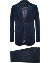 Faconnable Dark Blue Corduroy Suit - Lyst