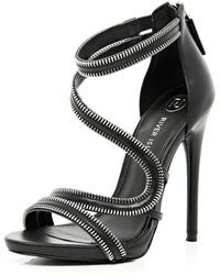 River Island Black Zip Detail Stiletto Sandals - Lyst