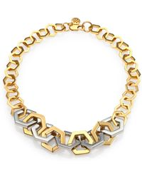 Tory Burch Hexagon Link Necklace gold - Lyst