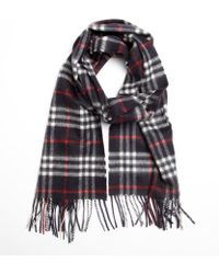 Burberry Navy Check Cashmere Fringe Scarf - Lyst