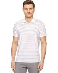 Calvin Klein Engineered Stripe Polo white - Lyst
