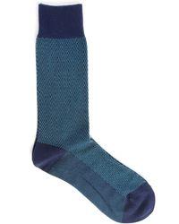 M.studio   2-pair Pack Of Paco Diamond Socks In Navy/burgundy   Lyst
