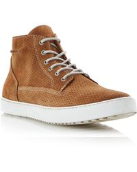 Dune Sculpture Lace Up Perforated Suede High Tops - Lyst