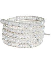 Aeravida - White Purity Milky Quartz-white Turquoise Leather 5-wrap Bracelet - Lyst