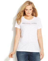 Michael Kors Michael Plus Size Short-Sleeve Studded Logo Tee - Lyst
