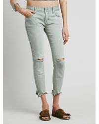 Free People Womens Destroyed Ankle Skinny blue - Lyst