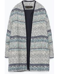 Zara Blue Jacquard Coat - Lyst