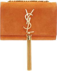 Saint Laurent Orange Suede Small Monogram Bag - Lyst