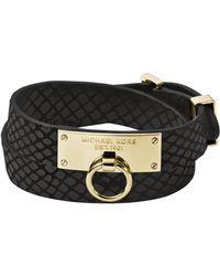 Michael Kors Pythonembossed Leather and Goldtone Wrap Bracelet - Lyst