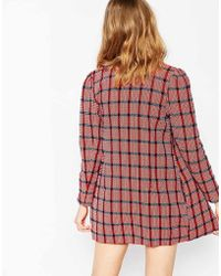 Harlyn - Popply Plaid Puff Sleeve Collarless Jacket - Lyst