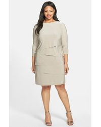 Tahari Plus Size Women'S Melange Jersey Tiered Sheath Dress - Lyst