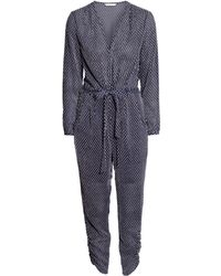 H&M Blue Textured Jumpsuit - Lyst