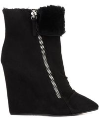 Giuseppe Zanotti Suede and Fur Wedge Boots - Lyst