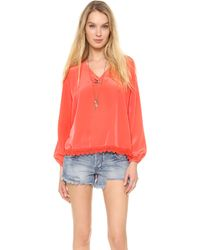 Lovers + Friends - Lovers Friends Daydream Blouse Coral - Lyst