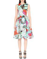 Mary Katrantzou Graphic-Print Satin Dress - For Women - Lyst