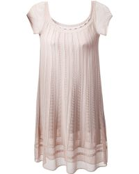 Azzaro Ribbed Detail Shift Dress pink - Lyst