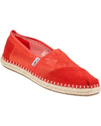 TOMS Classic Slip-On Fiesta Red Suede/Mesh red - Lyst