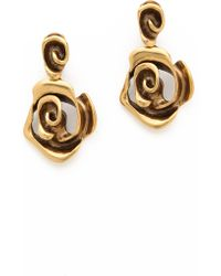 Oscar de la Renta Flower Earrings Russian Gold - Lyst