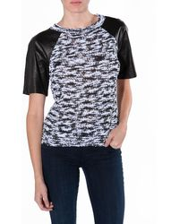 Robert Rodriguez Leather Sleeve Tee - Lyst