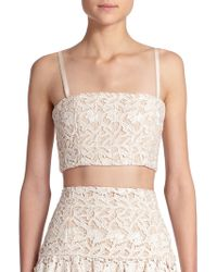 Alice + Olivia Marisol Lace Cropped Top - Lyst