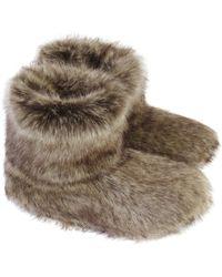 Helen Moore - Truffle Faux Fur Slipper Boots - Lyst