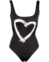 Kamali Kulture Black Low Back Tank Mio with Heart Graphic - Lyst